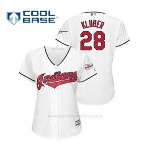 Camiseta Beisbol Mujer Cleveland Indians Corey Kluber 2019 All Star Game Patch Cool Base Blanco