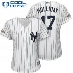 Camiseta Beisbol Mujer New York Yankees 2017 Postemporada Matt Holliday Blanco Cool Base