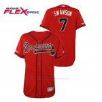 Camiseta Beisbol Hombre Atlanta Braves Dansby Swanson 150th Aniversario Patch Autentico Flex Base Rojo