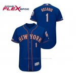 Camiseta Beisbol Hombre New York Mets Amed Rosario 150th Aniversario Patch Autentico Flex Base Azul