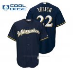 Camiseta Beisbol Hombre Milwaukee Brewers Christian Yelich Cool Base Alternato Azul