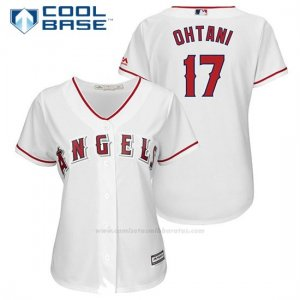 Camiseta Beisbol Mujer Los Angeles Angels 17 Shohei Ohtani Blancoplayer Cool Base