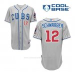 Camiseta Beisbol Hombre Chicago Cubs 12 Kyle Schwarber Gris Alterno Cool Base