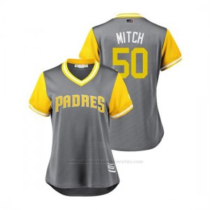 Camiseta Beisbol Mujer San Diego Padres Bryan Mitchell 2018 Llws Players Weekend Mitch Gris