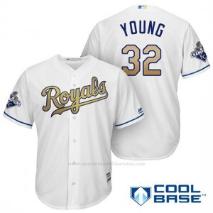 Camiseta Beisbol Hombre Kansas City Royals Campeones 32 Chris Young Coolbase Oros