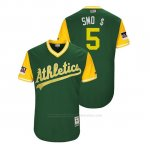 Camiseta Beisbol Hombre Oakland Athletics Jake Smolinski 2018 Llws Players Weekend Smo $ Green
