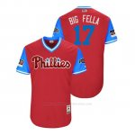 Camiseta Beisbol Hombre Philadelphia Phillies Rhys Hoskins 2018 Llws Players Weekend Big Fella Scarlet