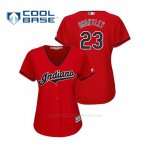 Camiseta Beisbol Mujer Indians Michael Brantley Cool Base Majestic Alternato 2019 Rojo