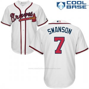 Camiseta Beisbol Hombre Atlanta Braves 3 Dansby Swanson Blanco Cool Base
