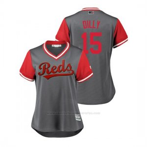 Camiseta Beisbol Mujer Cincinnati Reds Dilson Herrera 2018 Llws Players Weekend Dilly Gris
