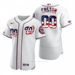 Camiseta Beisbol Hombre Washington Nationals Personalizada Stars & Stripes 4th of July Blanco