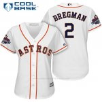 Camiseta Beisbol Mujer Houston Astros 2017 World Series Campeones Alex Bregman Blanco Cool Base