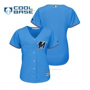 Camiseta Beisbol Mujer Miami Marlins Cool Base Majestic Personalizada 2019 Azul