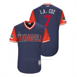 Camiseta Beisbol Hombre Los Angeles Angels Zack Cozart 2018 Llws Players Weekend L.a. Coz Azul