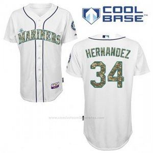 Camiseta Beisbol Hombre Seattle Mariners Felix Hernandez 34 Blanco Usmc Cool Base