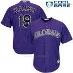 Camiseta Beisbol Hombre Colorado Rockies Charlie Negromon 19 Violeta Cool Base