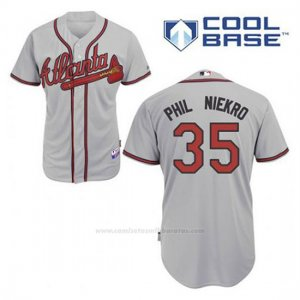 Camiseta Beisbol Hombre Atlanta Braves 35 Phil Niekro Gris Cool Base