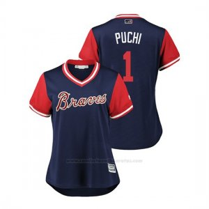 Camiseta Beisbol Mujer Atlanta Braves Ozzie Albies 2018 Llws Players Weekend Puchi Azul