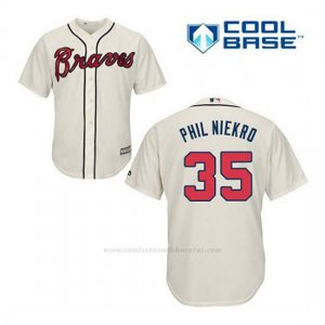 Camiseta Beisbol Hombre Atlanta Braves 35 Phil Niekro Crema Alterno Cool Base