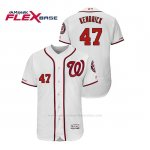Camiseta Beisbol Hombre Washington Nationals Howie Kendrick 150th Aniversario Patch Flex Base Blanco