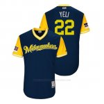 Camiseta Beisbol Hombre Milwaukee Brewers Christian Yelich 2018 Llws Players Weekend Yeli Azul