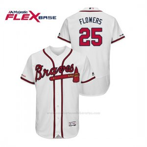 Camiseta Beisbol Hombre Atlanta Braves Tyler Flowers 150th Aniversario Patch Flex Base Blanco
