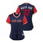 Camiseta Beisbol Mujer Boston Rojo Sox Heath Hembree 2018 Llws Players Weekend Heater Here Azul