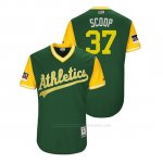 Camiseta Beisbol Hombre Oakland Athletics Edwin Jackson 2018 Llws Players Weekend Scoop Green