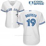 Camiseta Beisbol Mujer Toronto Blue Jays Jose Bautista Cool Base Blanco