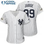 Camiseta Beisbol Mujer New York Yankees 2017 Postemporada Aaron Judge Blanco Cool Base