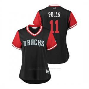 Camiseta Beisbol Mujer Arizona Diamondbacks Aj Pollock 2018 Llws Players Weekend Pollo Negro
