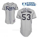 Camiseta Beisbol Hombre Tampa Bay Rays Alex Cobb 53 Gris Cool Base