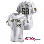 Camiseta Beisbol Hombre Milwaukee Brewers Alex Claudio Autentico 2020 Primera Blanco