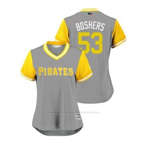 Camiseta Beisbol Mujer Pittsburgh Pirates Buddy Boshers 2018 Llws Players Weekend Boshers Gris