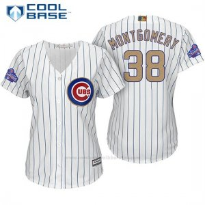 Camiseta Beisbol Mujer Chicago Cubs 38 Mike Montgomery Blanco Oro Program Cool Base