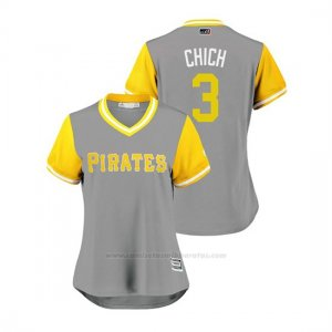 Camiseta Beisbol Mujer Pittsburgh Pirates Sean Rodriguez 2018 Llws Players Weekend Chich Gris