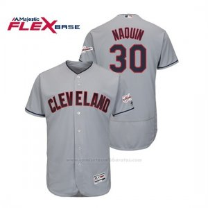 Camiseta Beisbol Hombre Cleveland Indians Tyler Naquin 2019 All Star Game Patch Flex Base Gris