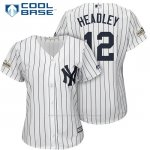 Camiseta Beisbol Mujer New York Yankees 2017 Postemporada Chase Headley Blanco Cool Base