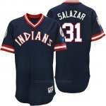 Camiseta Beisbol Hombre Cleveland Indians Danny Salazar Azul Turn Back The Clock