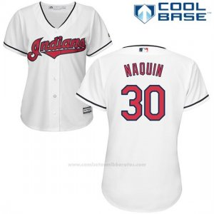 Camiseta Beisbol Mujer Cleveland Indians 30 Tyler Naquin Blanco Cool Base