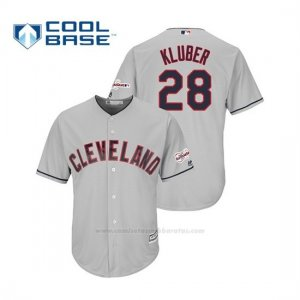 Camiseta Beisbol Hombre Cleveland Indians Corey Kluber 2019 All Star Game Patch Cool Base Gris