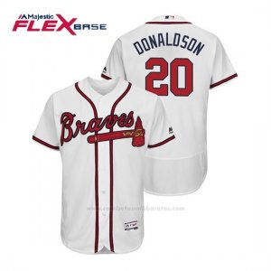 Camiseta Beisbol Hombre Atlanta Braves Josh Donaldson Flex Base Autentico Collezione Home 2019 Blanco