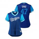 Camiseta Beisbol Mujer Los Angeles Dodgers Jt Chargois 2018 Llws Players Weekend Shag Royal