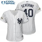 Camiseta Beisbol Mujer New York Yankees 2017 Postemporada Luis Severino Blanco Cool Base
