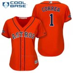 Camiseta Beisbol Mujer Houston Astros 2017 World Series Campeones Carlos Correa Naranja Cool Base