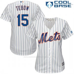 Camiseta Beisbol Mujer New York Mets 15 Tim Tebow Blanco Cool Base