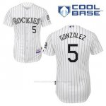 Camiseta Beisbol Hombre Colorado Rockies Carlos Gonzalez 5 Blanco 1ª Cool Base