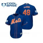 Camiseta Beisbol Hombre New York Mets Jacob Degrom Cool Base Entrenamiento de Primavera 2019 Azul