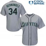 Camiseta Beisbol Hombre Seattle Mariners 34 Felix Hernandez Gris Cool Base