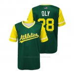 Camiseta Beisbol Nino Oakland Athletics Matt Olson 2018 Llws Players Weekend Oly Green